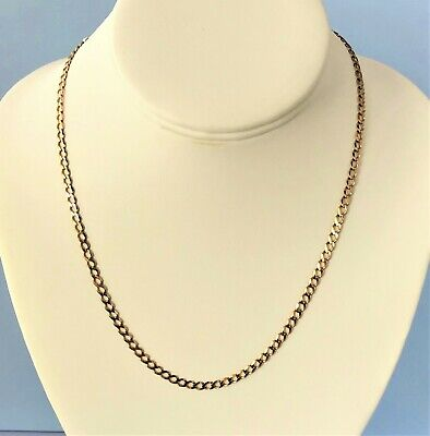 Italian 18 inch 9ct Solid Gold Flat Curb Chain Necklace - 4mm Width - 6.9 grams
