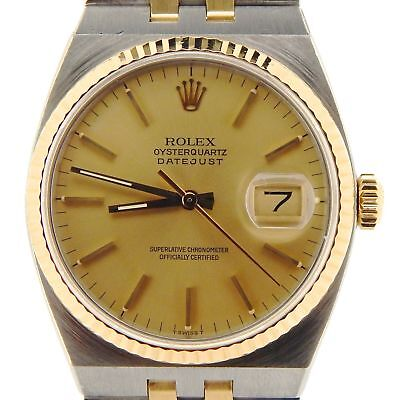 Rolex Datejust Oysterquartz 17013 Steel 18K Yellow Gold Watch Champagne Dial