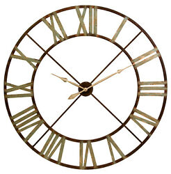 "48"" Oversize Rustic Contemporary Open Wall Clock Antiqued Metal Weathered Finish"