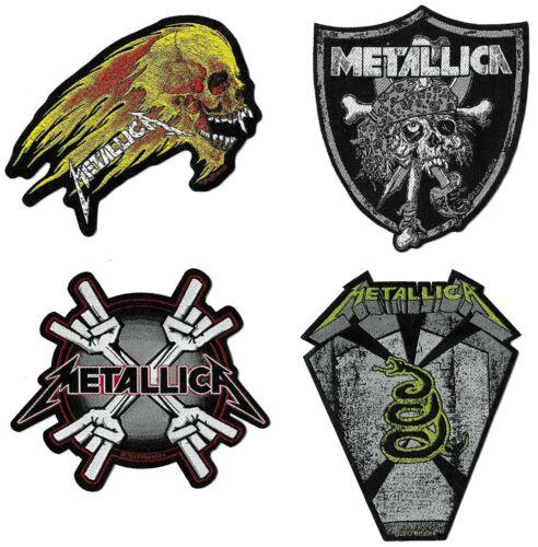 Metallica Raiders + Flaming Skull + Metal Horn Coffin + Metal Horns Patch Lot