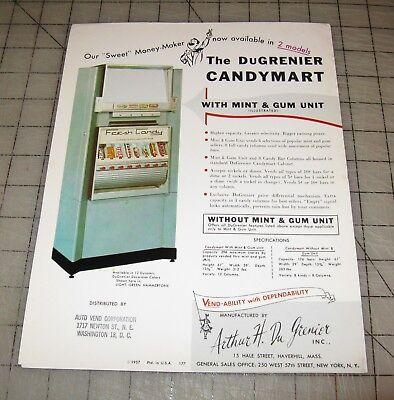 "1957 DuGrenier ""CANDY MART"" Vending Machine Co. Advertising Ad Sheet - Nice!"