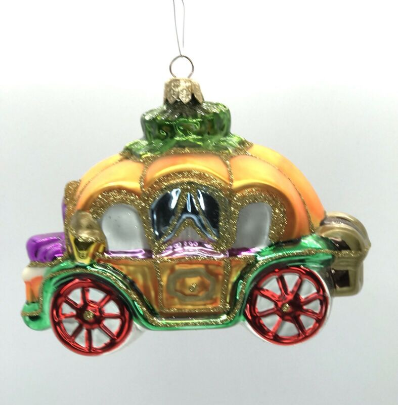 Kurt Adler Polonaise Pumpkin Coach for Cinderella, Blown Glass Ornament