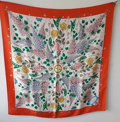 Rare Vintage authentic Gucci Scarf Flowers Leaved GG Logo made in italy