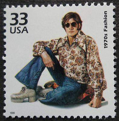 1970s 70s hippie bellbottom flared jeans commemorative unused fashion stamp