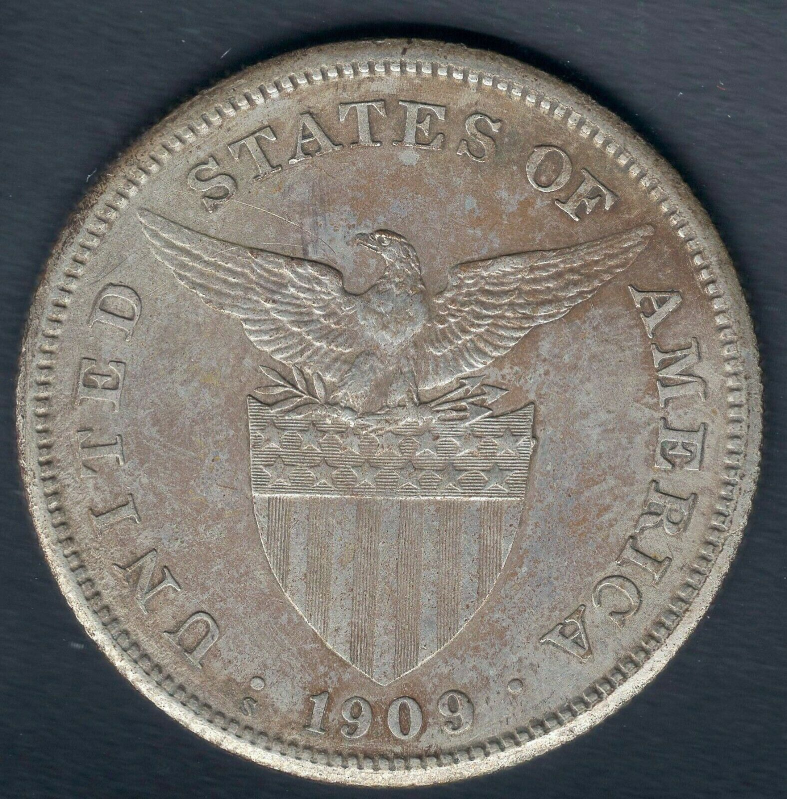 1909 S Philippines One Peso Silver - High Grade TONED - BEAUTY - HI RES SCANS  - $57.00