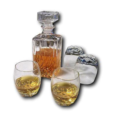 5er Set : Whiskey Karaffe Dekanter aus Glas 900ml und 4 x Whiskeygläser 255ml