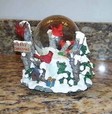 Red Cardinals In Birch Trees Winter Scene Musical Christmas Snow Globe Diorama