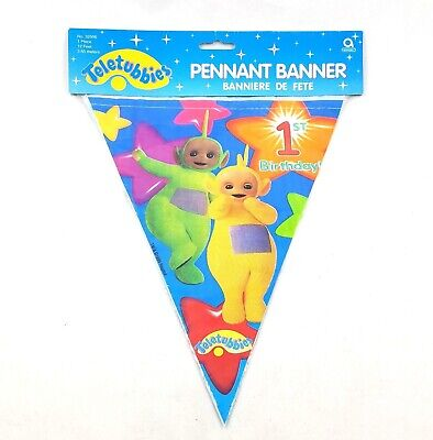 Teletubbies Happy 1st Birthday Pennant Banner 12 Feet Vintage Party Supplies NEW](Happy 1st Birthday Banner)