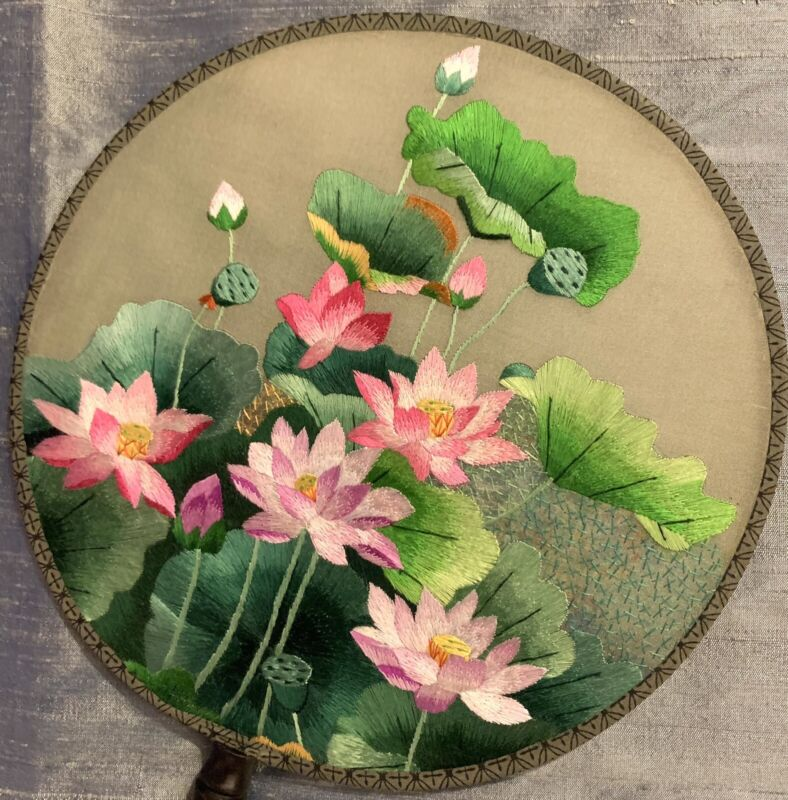 Lovely Vintage Asian Double Sided Embroidered Silk Round Fan