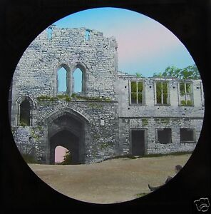 Glass-Magic-lantern-slide-DUDLEY-TO-WARWICK-NO-3-C1890-COURTYARD-DUDLEY-CASTLE