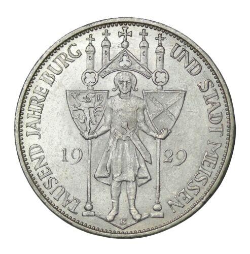 1929-E Germany Weimar Republic Silver 3 Reichsmark Meissen KM#65