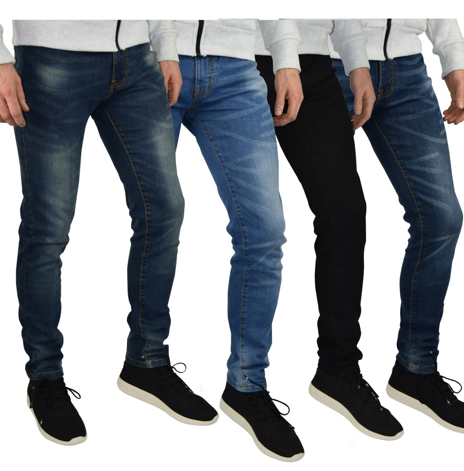 Mens Slim Fit Stretch Jeans Comfy Fashionable Super Flex Denim Pants Clothing, Shoes & Accessories