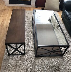 Glass, Metal, Wood Coffee table and Bench