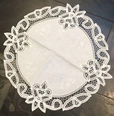 """Vintage Shabby Chic White Cotton Batten Lace Table Linen Doily Coaster Mat 8"""""""