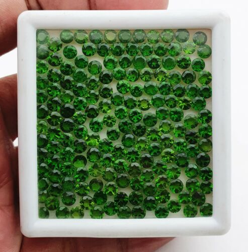 15 CT Natural Chrome Diopside Round Cut Loose Gemstone Lot 58 Pcs 4 MM
