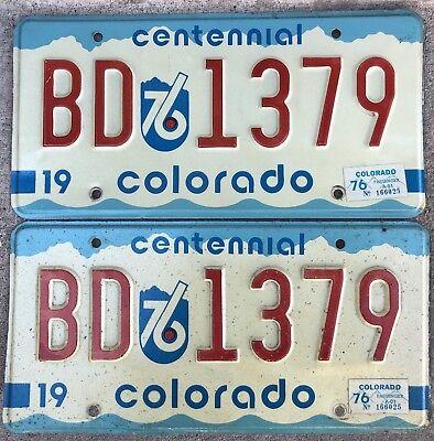 1976 Colorado License Plates 1 Pair Very Good Condition