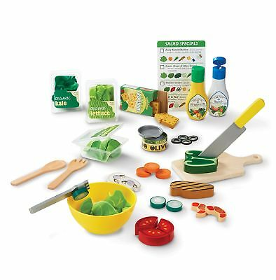 Melissa  Doug Slice  Toss Salad Play Food Set with 52 Wooden and Felt Pieces