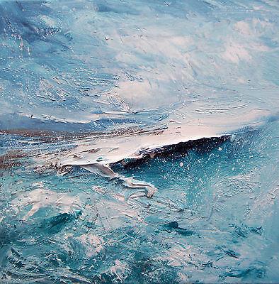 Abstract Seascape / Coastal Art. Original Acrylic Painting On Canvas.