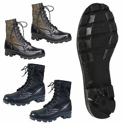 GI Style Military Jungle Boot - Canvas & Nylon W/ Leather Toe & Heel - Black, OD - Gi Style Jungle