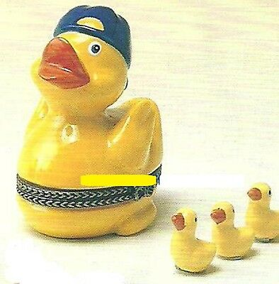RUBBER DUCKY w/ BACKWARD BASEBALL HAT-Porcelain Hinged-Box-with 3 DUCKY TRINKETS