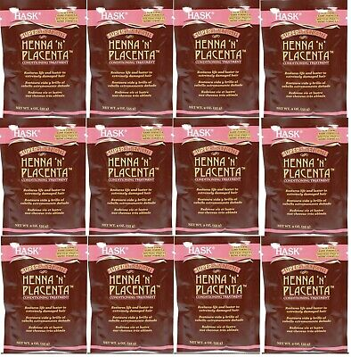 12X HASK Henna N Placenta Super Strength Conditioning Treatment Packet 1.75 oz