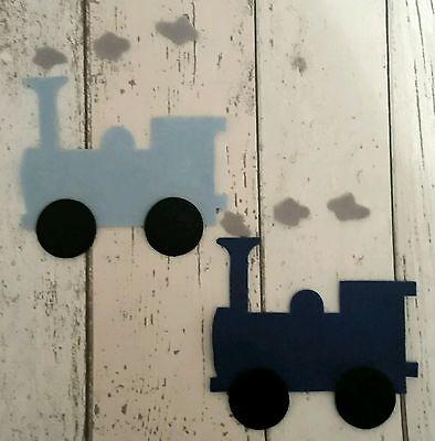 Large Felt Trains ~ die cut in shades of Blue, boys, men, grandads, bunting