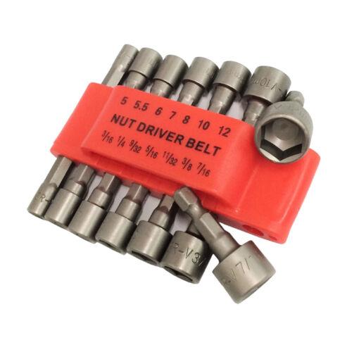 "14pc Power Nut Driver Set Dual Metric & Standard SAE 1/4"" Shank"