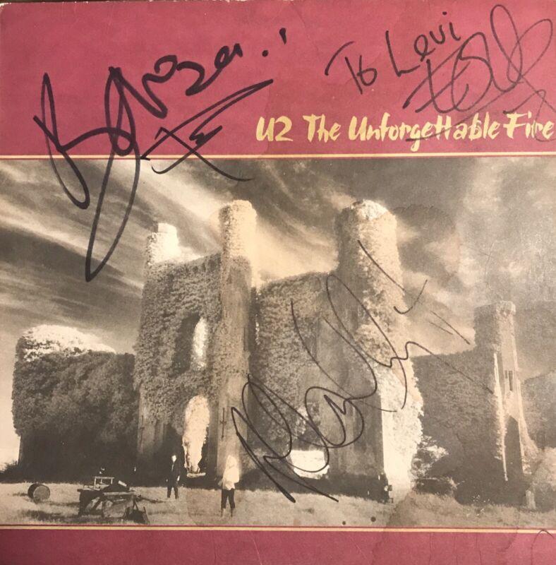 U2 Signed All 4 Members Unforgettable Fire Autograph Vinyl LP Larry Mullen Bono