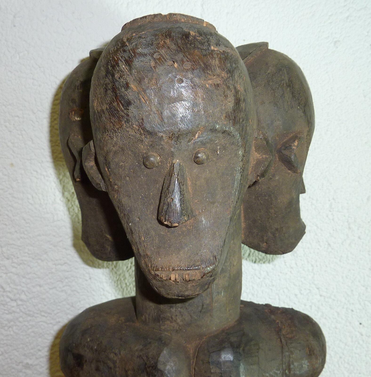 Afrika Fruchtbarkeitsfigur seltene Dreikopf Figur Fang Gabun Phallus Ritualfigur