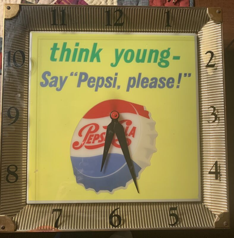 1950's Lighted Pepsi Clock  Think Young Say Pepsi Please
