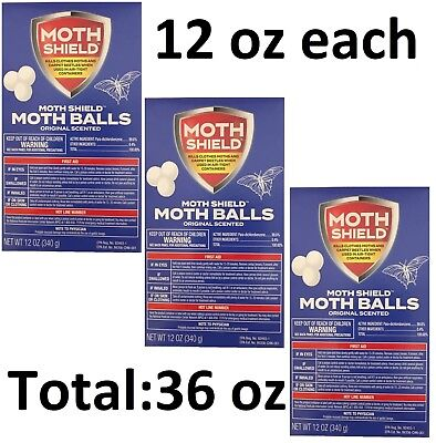 3 Boxes Moth Shield Balls Kills Moths & Carpet Beetles Original Scent Each 12 oz ()