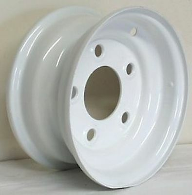 "8"" NEW 5 LUG WHITE STEEL WHEEL / RIM  FITS 18.5X8.50-8 18.5X9.50-8 TRAILER TIRES"