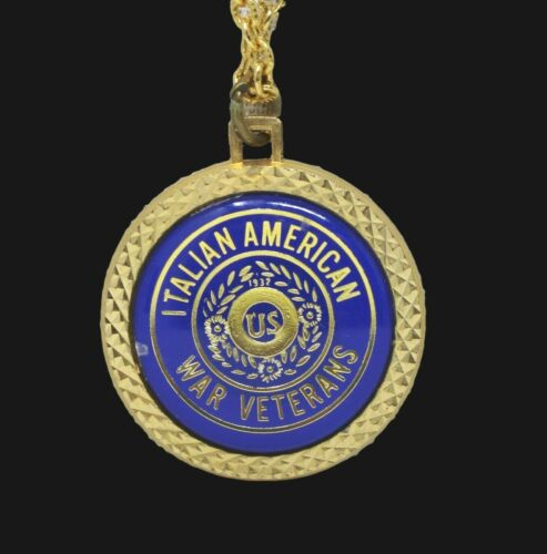 Military Italian American War Veteran Medal Medallion Necklace HIT USA Chain