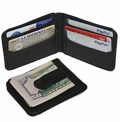 BLACK 100% LEATHER BIFOLD MONEY CLIP Credit Wallet Holder Metal ID Badge 11 THIN