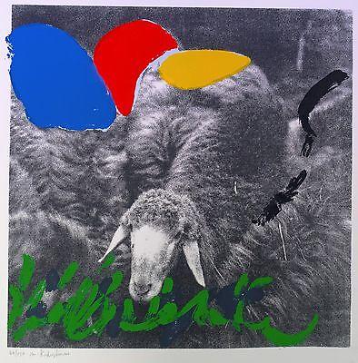 """Menashe Kadishman, """"SHEEP"""", POPART ISRAEL, STARKÜNSTLER, SEHR RAR"""