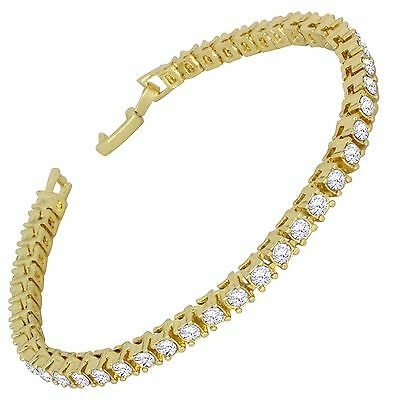 Mens Womens 1 Row Simulated Diamond Tennis Bracelet 14k Gold Plated 8 inch  - Gold Mens Diamond Bracelet