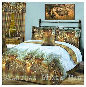 Whitetail Deer Buck Hunting Lodge Cabin Plaid Comforter