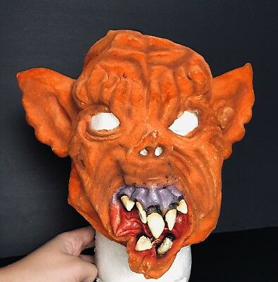 Vintage Halloween Gargoyle Demon Mask Rubber Orange Costume