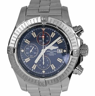 Breitling Super Avenger Chronograph Blue Arabic Stainless A13370 48mm Watch