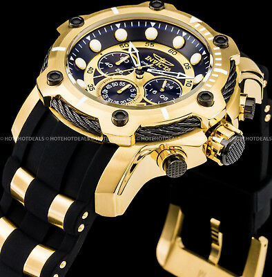 Invicta Men's 51mm Signature Bolt Chronograph Black Dial Gold Plated SS PU Watch