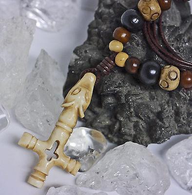 Wikingerkette Island Kreuz aus Knochen Handschnitzerei Knochenperlen Lederschnur