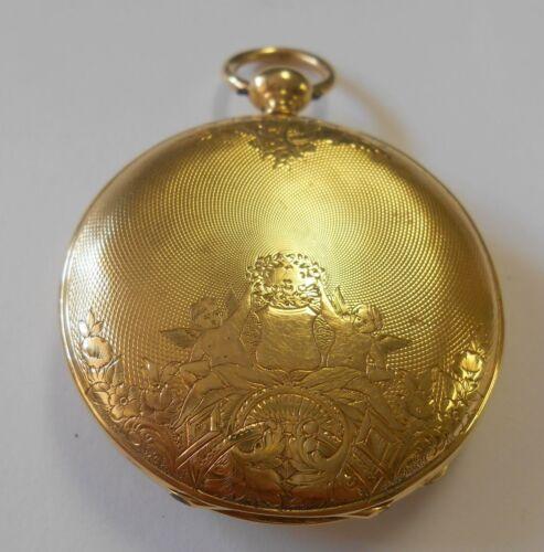 Antique Faigaux Goodchaux 14K Gold Hunting Case Pocket Watch Cherubs Urn Ornate