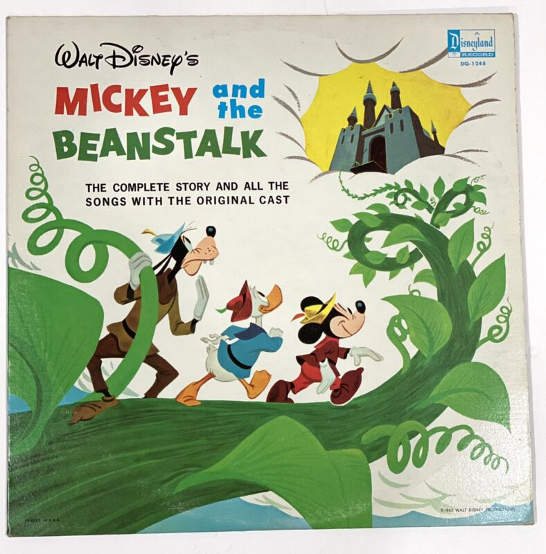 Vtg Walt Disney Record Album Mickey and the Beanstalk 1963 Songs DQ-1248 Donald