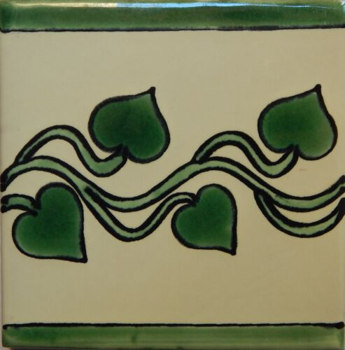Mexican Tile Talavera Tiles High-Quality Hand Painted Green Leaves Tile T-55