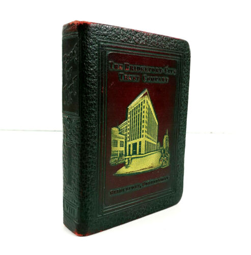 Vintage Bankers Utilities Bridgeport CT Trust Company Leather Book Bank No Key
