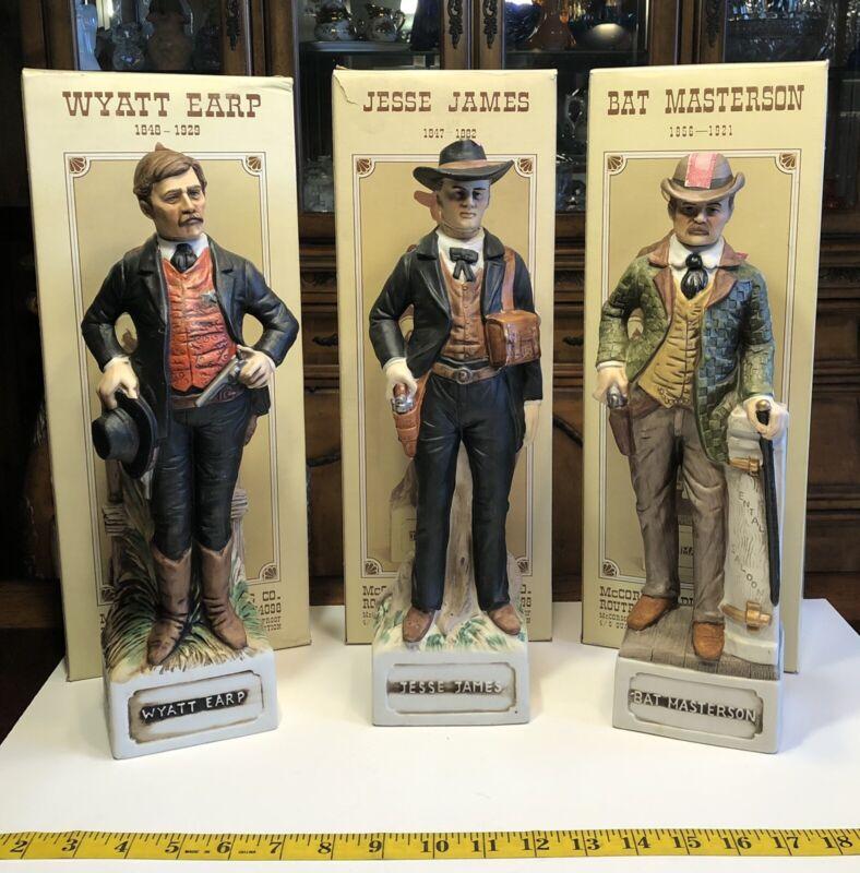 Rare 1973 Porcelain Decanters Wyatt Earp Jesse James Bat Masterson