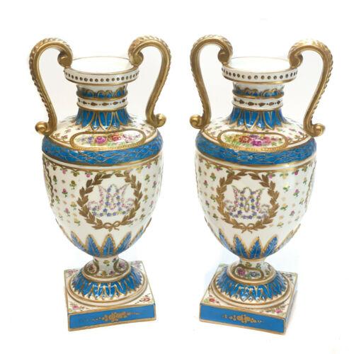 Pair Sevres France Porcelain Footed Urns, Marie Antoinette, circa 1900