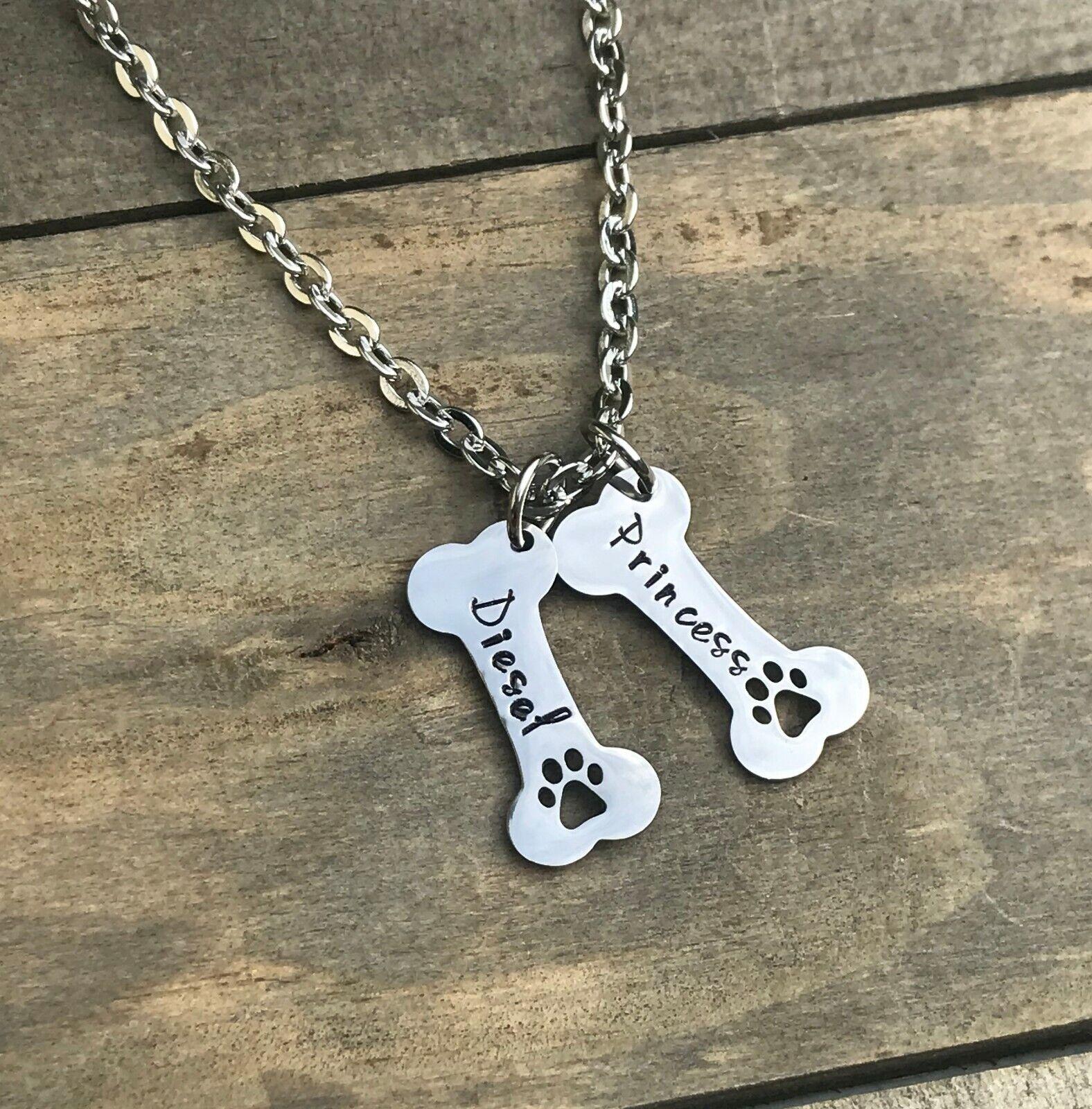 Dog Bone necklace personalized name pet jewelry paw print ne