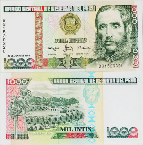 PERU #136b 1988 UNC MINT OLD 1000 INTIS BANKNOTE PAPER MONEY CURRENCY BILL NOTE