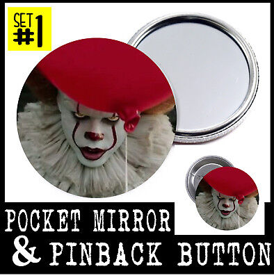 Scary Clown Mirror (Pennywise POCKET MIRROR + PINBACK BUTTON or MAGNET the clown IT scary pin)